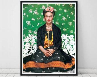 Frida Kahlo Print • Frida Kahlo Poster Green Print Scandinavian Decor Frida Kahlo Wall Art Frida Art Deco Mexican Decor Mexican Art Green