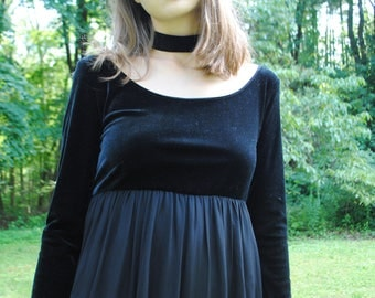 Vintage Dress, Velvet, 90's Clothing, Dennis Goldsmith, Black Dress, Maxi, Velvet Dress, Babydoll, Vintage Clothing, XS, Small