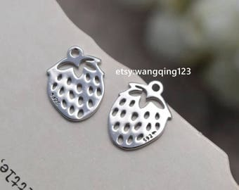 2 pcs sterling silver stawberry charm pendant  , QY3