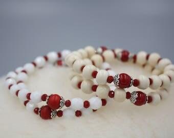 Valentines Bracelet, Bone White Mala Beads Or Milk Glass Beads, Red Malas, Czech Fire Polish, Tibet Bead Caps, Cologne Bracelet