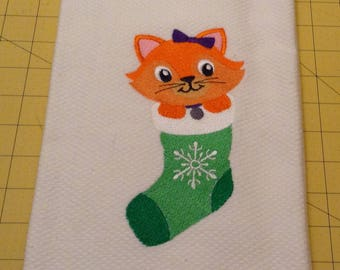 Kitty in Christmas Stocking! Embroidered Williams-Sonoma Kitchen Towel, Made in Turkey, Extra Large