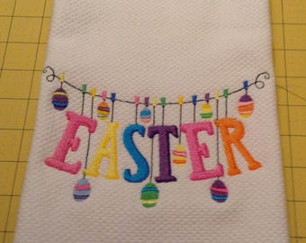 HAPPY EASTER Clothesline! Embroidered Williams Sonoma All Purpose Kitchen Hand Towels 20 x 30, Extra Large