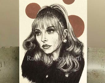 Sharon Tate, Old Hollywood, True Crime, Manson Family Killings, Charles Manson, 1960s, Valley of the Dolls, Vintage, Original Art
