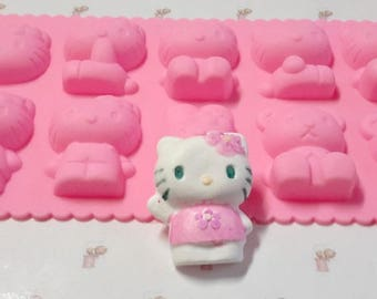Silicone mold kittens 10 3D shapes