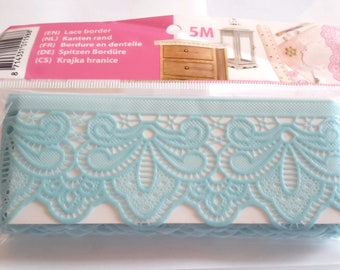 Plastic lace Ribbon blue 5 m of 4.5 cm wide
