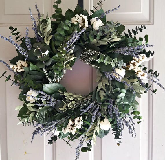 Lavender wreath, preserved wreath, custom wreath, salal wreath, indoor wreath, 24 inch wreath, fragrant wreath, purple wreath, large wreath