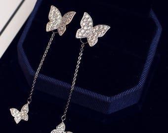 Delicate Cubic Zirconia Crystal Butterfly Women Earrings Long Tassel Back Stud Earrings Jewelry