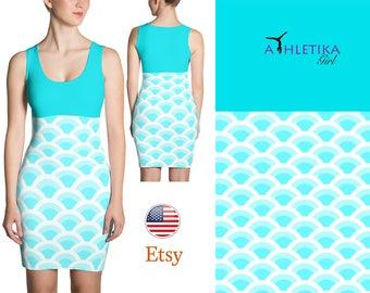Little Mermaid Mini Dress Bodycon Short Sleeveless Dress Turquoise Summer Beach Ocean Print Woman Fitted Green Blue Girl Gift Above Knee