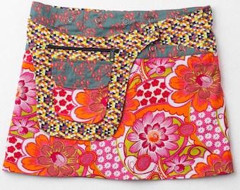 ble Skirt-Wrap Skirt-Mini Skirt- Adjustable Waistline-Onesize fits most- Detachable Reversible Pocket-Floral Printed Skirt-Pink, Grey Skirt