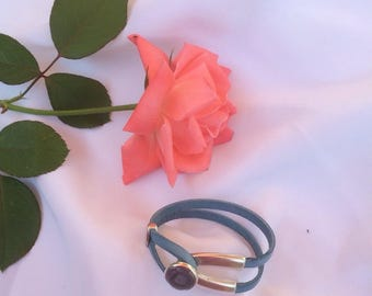 beautiful sky blue leather bracelet