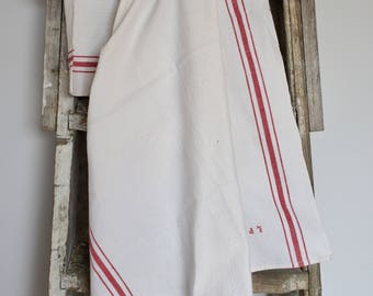 French white and red tea towel