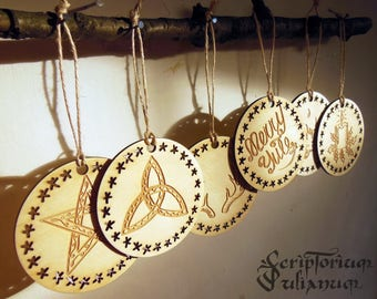 Yule decorations, Yule tree ornaments, wiccan decor, pagan decor, druid neopagan witch, pagan Christmas, Yuletide blessings, Winter Solstice