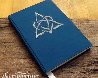 Triquetra journal, blue journal, heart knotwork, book of shadows, druid journal, pagan gift, Celtic gift,Wicca, Ostara gift, Easter gift