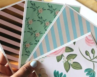 Set of 4 Floral Card, Pastel Color Cards, Blank Note Cards, Note Cards, Blank Stationery, Lined Envelopes, Handmade Cards, A2 Envelopes