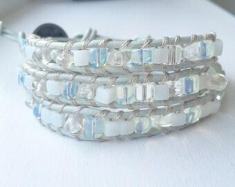 SOLD.  Moonstone wrap bracelet.  Three wrap bracelet.