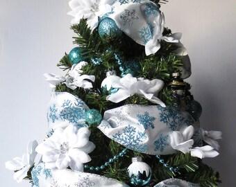 Arctic Frost, tabletop Christmas Tree, Christmas Decoration, OOAK Christmas, Topiary Tree, Mini Christmas Tree, Home Decor, Handmade, Gift