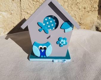 piggy bank birdhouse with OWL (ref TC004)
