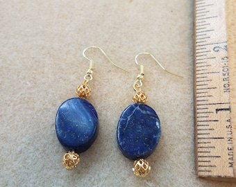 Lapis and Gold-tone Earrings