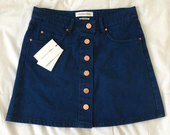 Isabel Marant brass button down front blue jean skirt // Size 26""