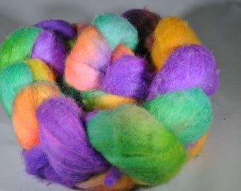 "Hand Dyed Polwarth ""Festive""  4 oz Roving"