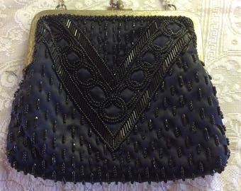 Vintage Purse, Black Glass Beaded, 1930-40's, Made in Hong Kong
