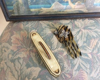 Art Deco Hair Comb Tortoise Celluiold, Rhinestones, Etching with Nail Buffer, Mint!