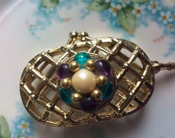 Vintage Keychain Jeweled Purse, Excellent!