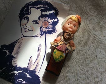 Altered Flapper Art Doll, Antique Bottle, Vintage Ribbon Work ,Porcelain, Art Deco Doll Parts and Silk