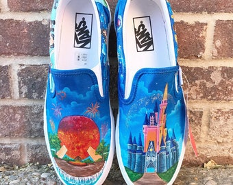 Epcot and Cinderellas Castle Disney Painted Shoes