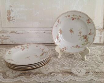 Set of 6 Antique CH Field GDA Haviland Limoges Soup Plates Pink Roses