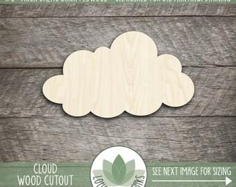 Wood Cloud Shape, Unfinished Wood Cloud Laser Cut Shape, DIY Craft Supply, Many Size Options, Nursery Wall Decor