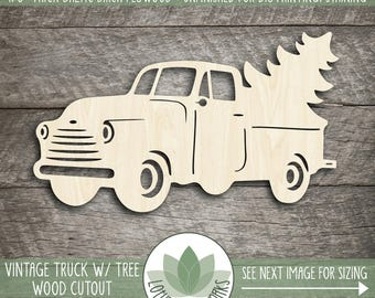 Vintage Truck With Christmas Tree Wood Cut Shape, Laser Cut Wood Truck, Wood Shapes For DIY Crafting, Wood Christmas Shapes, Wood Truck