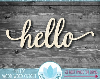 Hello Large Wood Sign, Gallery Wall Wooden Words, Large Wooden Word Signs, Word Art Home Decor