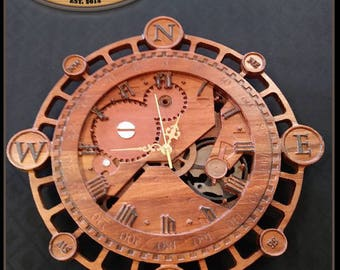 wooden wall clock rustic wall clock wood clock wooden office clock steampunk