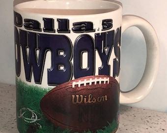 DALLAS COWBOYS MUG vintage coffee cup nfl football wilson football troy aikman emmitt smith michael irvin super bowl hof collectible