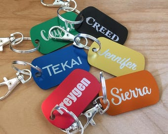 Name Tags for Backpacks Personalized Dog Tags for Son Men Daughter ID Tag Key Chain ID Dog Tag First Day of School Bag Tag Back To School