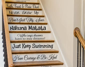 Disney Quote Stair Decals, Stair Decals, Living Room Decor, Stairway Decor