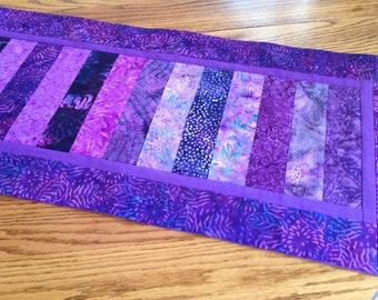 Purple batik table runner