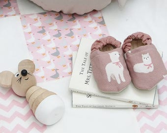 Pink llama baby shoes | soft sole baby shoes, slippers, soft-soled bootie, toddler moccasins, cloth shoes