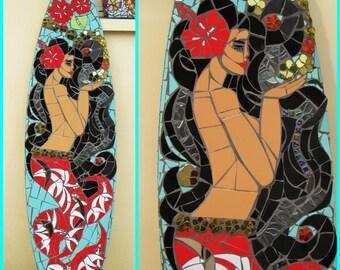 "Mosaic surfboard ""Hinano mermaid"""