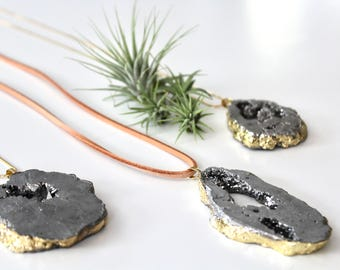 Gold Plated Gray Genuine Geode Druzy Necklace on A long Genuine Leather Mauve Cord