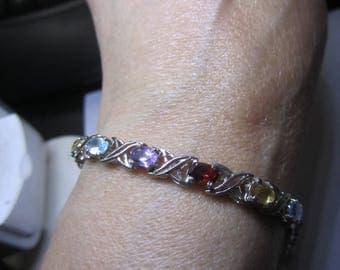 Sterling Silver Multi-Gemstone hugs and kisses Bracelet (11.7 grams)!