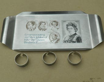 Commemorative Tray & Napkin Rings - Stainless Steel - Silver Jubilee 1977 - H.M The Queen Elizabeth II - Vintage Stainless Steel