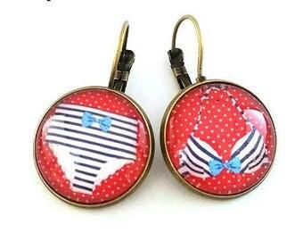 Bikini pinup retro - cabochon - bronze earrings