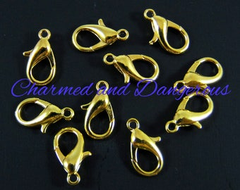 9x14mm gold lobster clasps - package of 10 (F5)