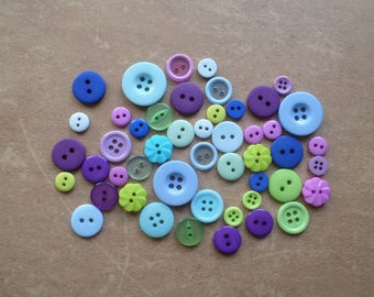 Set of 48 buttons round Combo magical blue Turquoise Violet Green