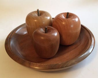 Turned wooden bowl of fruit, handmade from recycled Australian hardwood timber