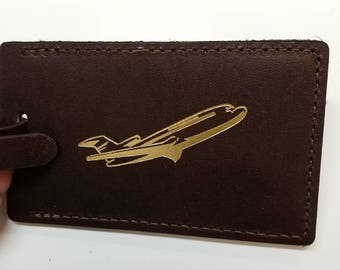 Airplane Design Debossed Luggage Tag Gifts - Traveler - Wedding - Shower - Birthday & More! Made in the USA!
