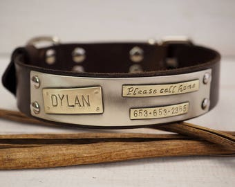Dog Collar For Medium & Large dog ,Leather dog collar, Dog Collar, Leather Collar, Personalized Dog Collar, Pet Gifts, Dogs Name Plate