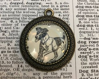 Handmade Vintage Dictionary Dog Necklace - Fox Terrier